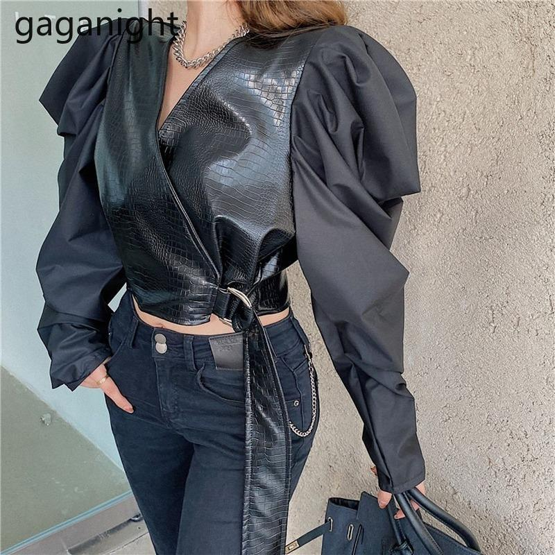 GagaNight Sexy Women Blusa recortada PU Cuero Patchwork manga larga Outwear Tops Fashion Elegant Office Lady Streetwear Shirt