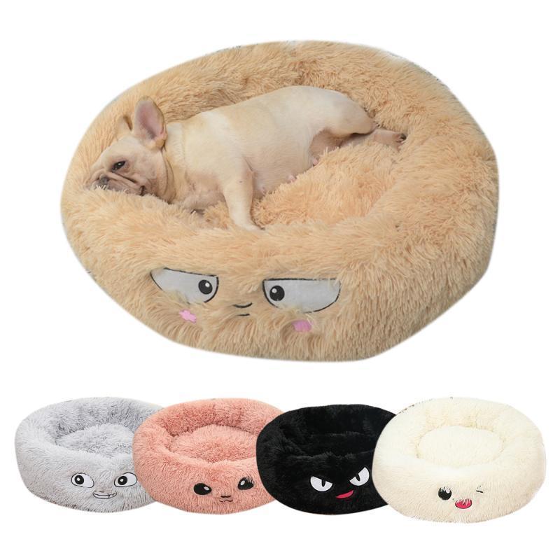 Kedi Yatakları Mobilya Yuvarlak Peluş Yatak Evi Mat Kış Sıcak Uyku Kediler Yuva Yumuşak Uzun Köpek Sepeti Pet Yastık Evcil Hayvan Yaratıcı Malzemeleri