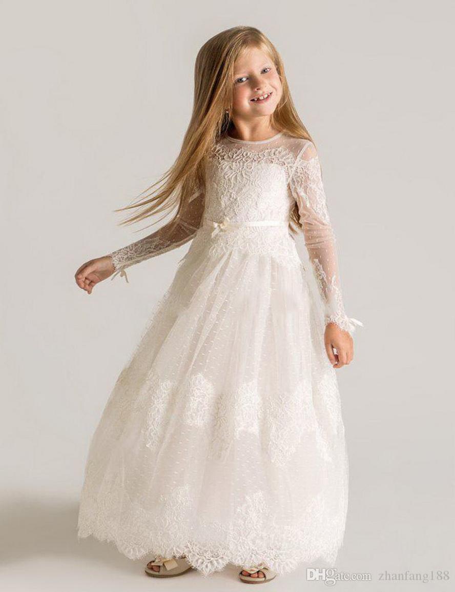 2021 nova manga longa o pescoço pequeno flor menina vestidos zíper de volta uma linha crianças vestido de baile para casamento primeiros vestidos de comunhão