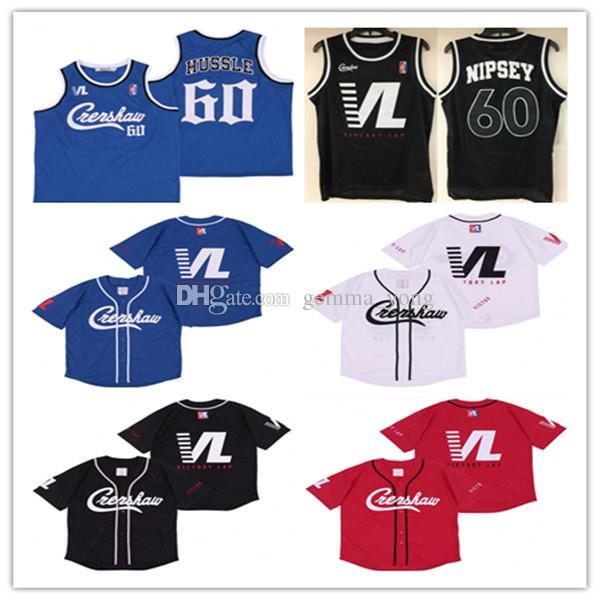 Fashion Hommes 60 Nipsey Hussle Crenshaw Victoire Lap Hip Hop Rev Couverture Noir Rouge Blanc Blanc Bleu Covie Jersey Bonne qualité