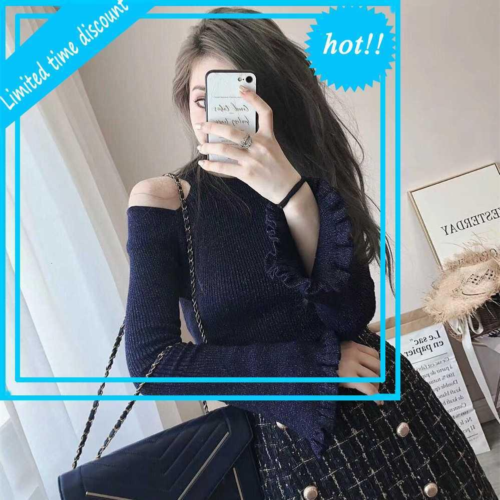 2021 весенняя знаменитость мода с плеча свитер твиду бедра юбка из двух частей вязаный костюм женская одежда 8543