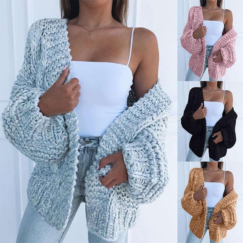 Vipautumn / зима 2020 женская мода мошенница свитер повседневная кардиган теплое пальто для женщин