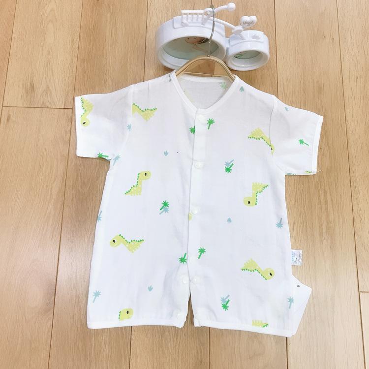 Детская марлевая комбинезона пружина и новорожденная одежда с коротким рукавом хлопок тонкие пижамы летнее крепость ползун