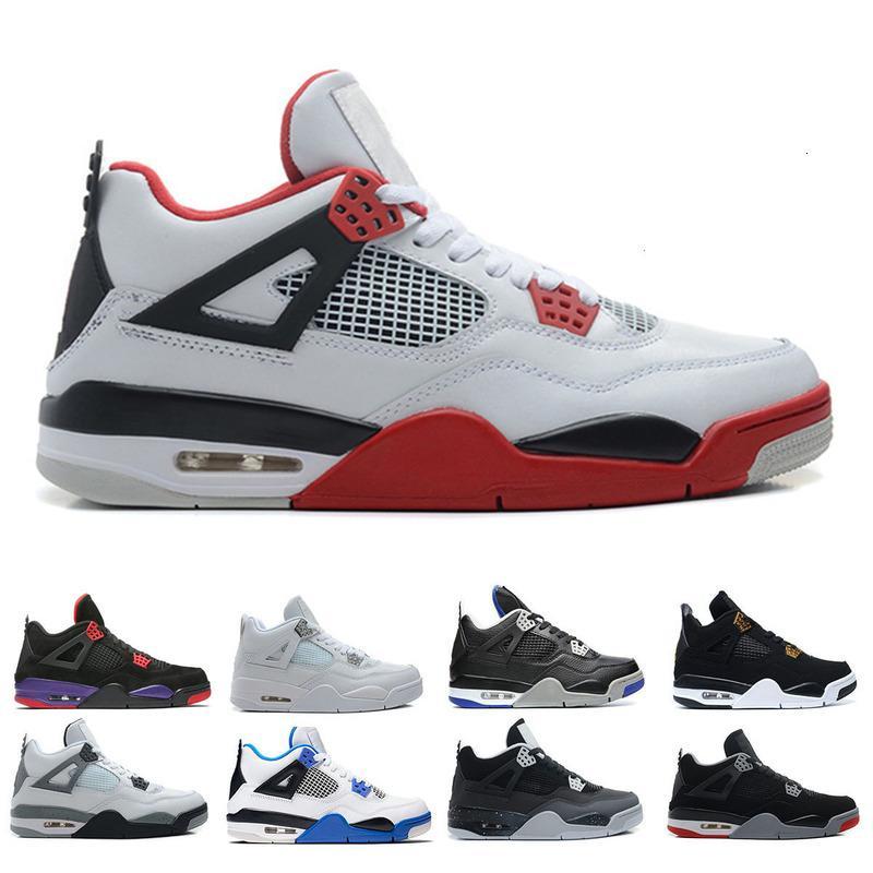 Barato 4 4s zapatos hombres dinero puro cemento blanco gato negro criado raptors fuego rojo para hombre entrenadores deportes zapatillas deportivas Tamaño 8-13