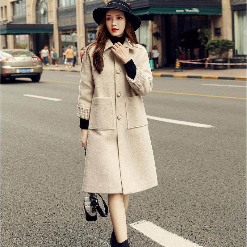 Novo outono inverno elegante moda longa feminina solta coreana magro lã casaco feminino