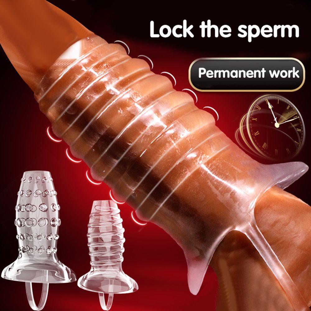 Open-ended Penis Extender Transparent Cock Ring Male Penis Delay Ejaculation Scrotum Bondage Sex Toys For Men