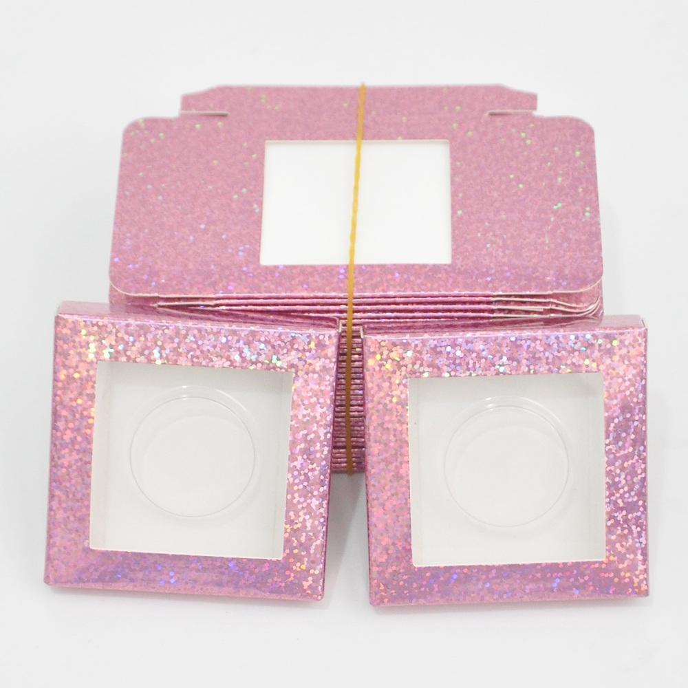 Atacado 50/100 pcs papel falso pilha de embalagem caixa chicote de glitter vermelho embalagem logotipo personalizado Faux cils cílios maquiagem caso maquiagem