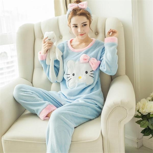 новая зимняя фланель теплых пижам корейского каваи мультфильм пижама Set Мода pijama Mujer Досуг Главной Ткань пижамы женщины пижамы C1115