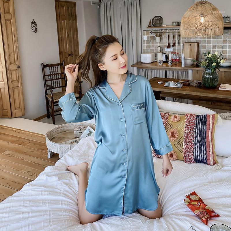 Сексуальная ночная рубашка с длинным рукавом с длинным рукавом сплошные повседневные сонные ночные убытки дома халат1