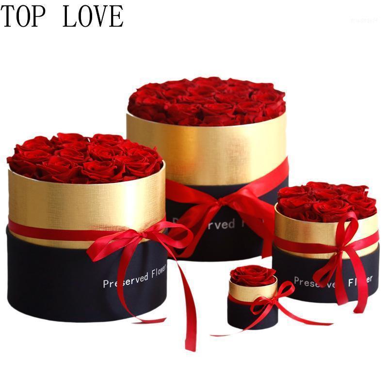 HQ 1,7,12,19 шт. 4-6см Сохраненные вечные розы с коробкой Нового Года Валентина подарки навсегда вечная розовая свадебное украшение1