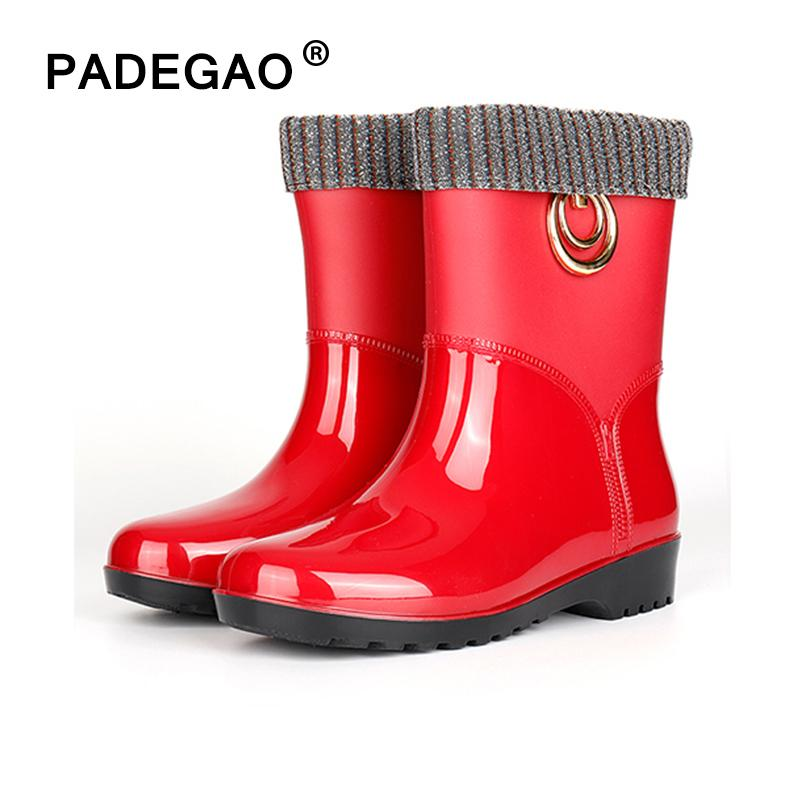 Kadın Yağmur Su Anti-Skid Kadınlar Sonbahar Kış Sıcak Peluş Rainboots kadın Watrproof Ayakkabı Bayanlar Ayak Bileği Çizmeler Q1216