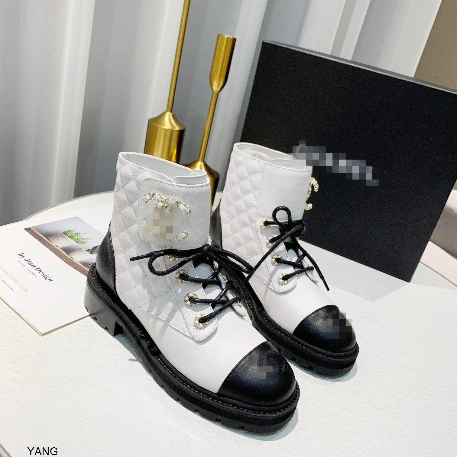 Bota do tornozelo Luxo Womens Designer Chunky Heel Sheepskin Botas de Luxo Designer Lace Up Martin Botas Ladys Moda Inverno Botas com Caixa