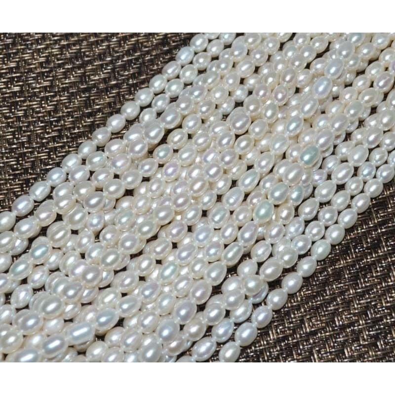 Vente en gros AA 10 Strands 5-6mm Riz blanc Riz Freshwater Perle Livraison Gratuite T200507