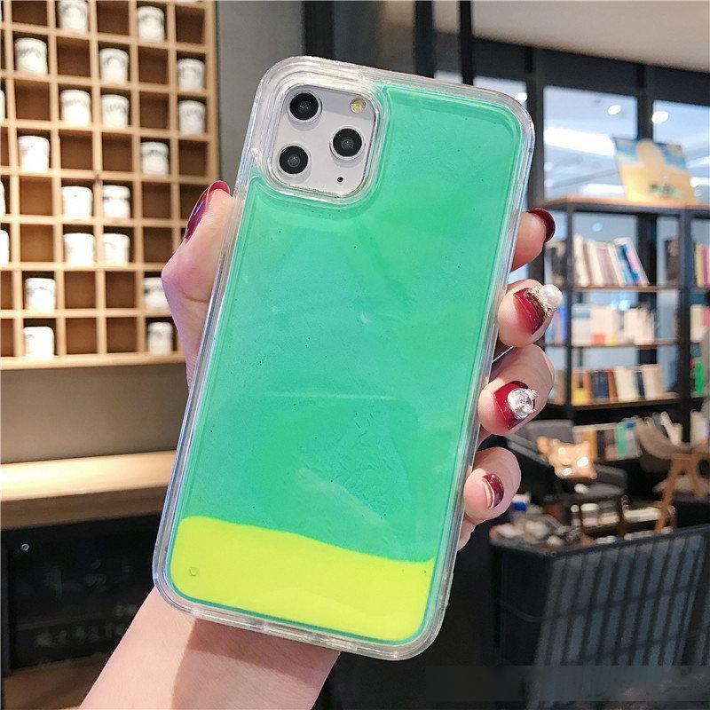Caja de la caja del teléfono celular luminosa rápida para iPhone 11 Pro Max XS Max XR x 8 7 6 más luz de la noche de la cáscara