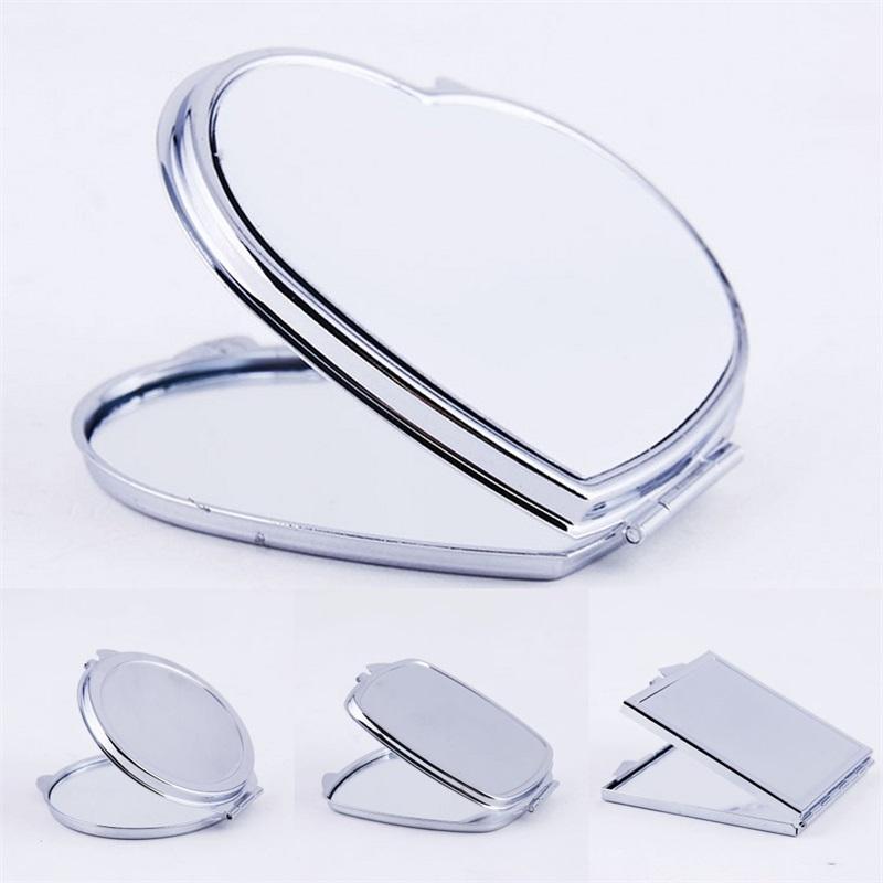 Miroirs de maquillage bricolage fer à repasser 2 Visage Sublimation Vide Plaqué En Aluminium Feuille fille Cadeau Cosmétique Miroir compact Miroir Portable Décoration 3 2x m2