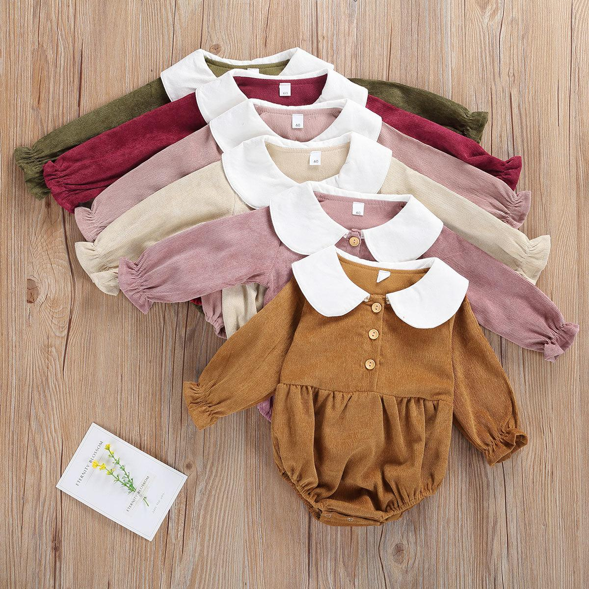 Ma&Baby 0-12M Newborn Infant Baby Girl Romper Corduroy Peter Pan Collar Jumpsuit Autumn vintage Baby Girl Clothes Z1121