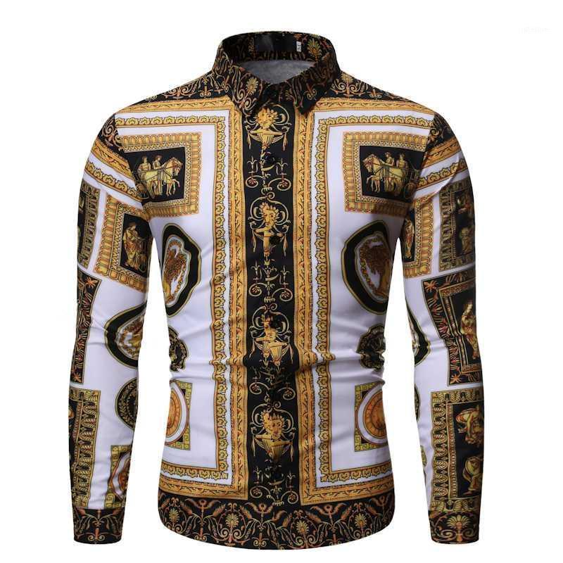 2020 가을 새로운 남자의 실크 새틴 인쇄 셔츠 남성 슬림 맞춤 긴 소매 파티 셔츠 남자 인쇄 비즈니스 셔츠 탑스 S-2XL1