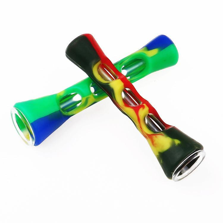 QBsomk Silicone Glass Smoking Herb Pipe 87MM One Hitter Dugout Pipe Tobacco Cigarette Pipe Hand Spoon Pipes Smoke Accessories Wholesale