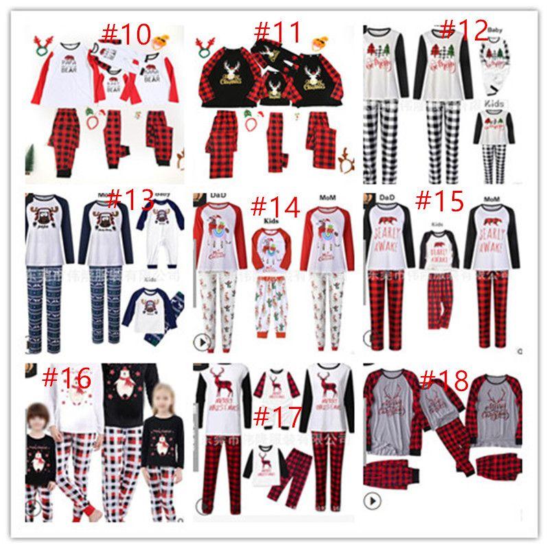 Buffalo Plaid Family Christmas Pajamas Set Famiglia corrispondenza due pezzi Abbigliamento Renna di Babbo Natale camicetta e pantaloni Sleepwear CZ111602