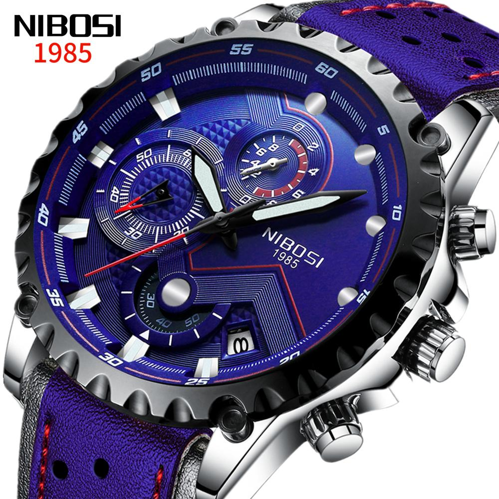 Nibosi Leather Men Watch Blue Big Dial Sports Watches Moda Moda Moda Ejército Hombres Reloj Militar Cuarzo Reloj de pulsera Relogio Masculino