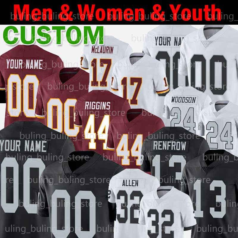 Personalizzato Marcus Mariota Jersey Marcus Allen John Riggins 13 Hunter Renfrow Charles Woodson Terry McLaurin Antonio Gibson Richie Incognito
