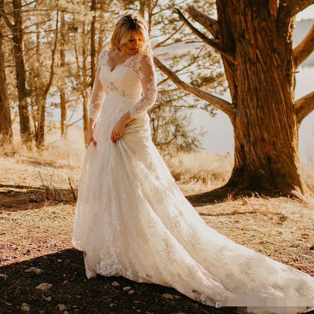 Plus Size Lace Country Wedding Dresses 2021 New Court Train Beaded V-Neck 3/4 Long Seeve A-Line Bridal Gowns Vestido De Novia