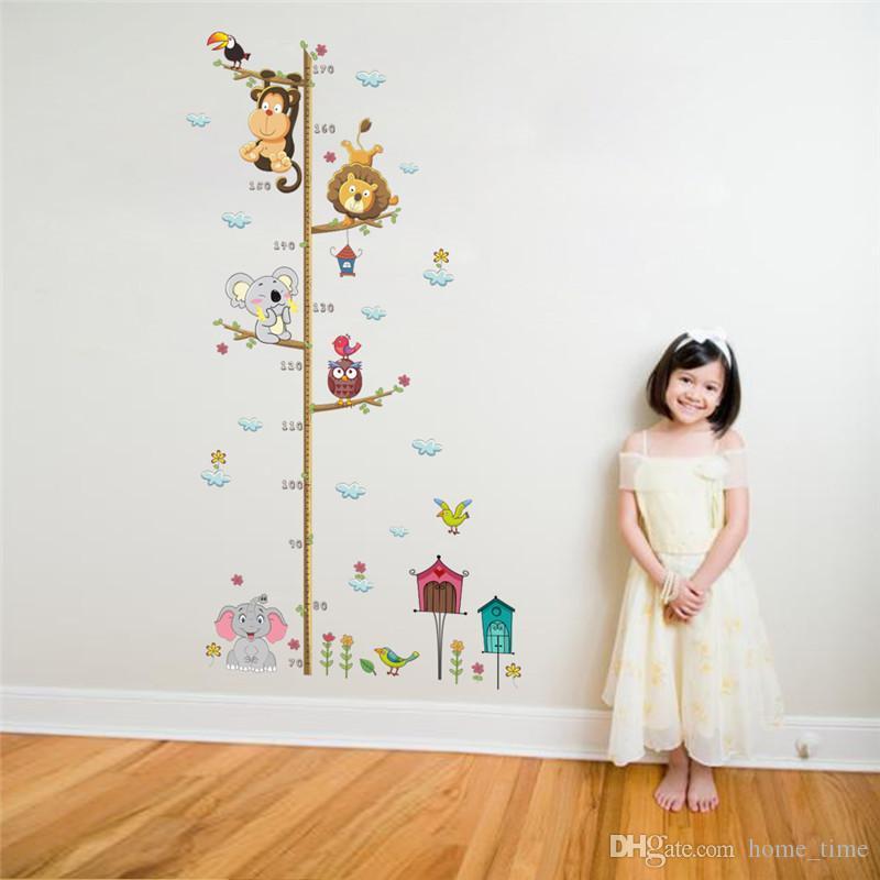 Karikatür Yükseklik Ölçme Kendinden Yapışkanlı Duvar Sticker Çocuk Odaları Için Büyüme Şeması Kreş Odası Dekor Duvar Sanatı