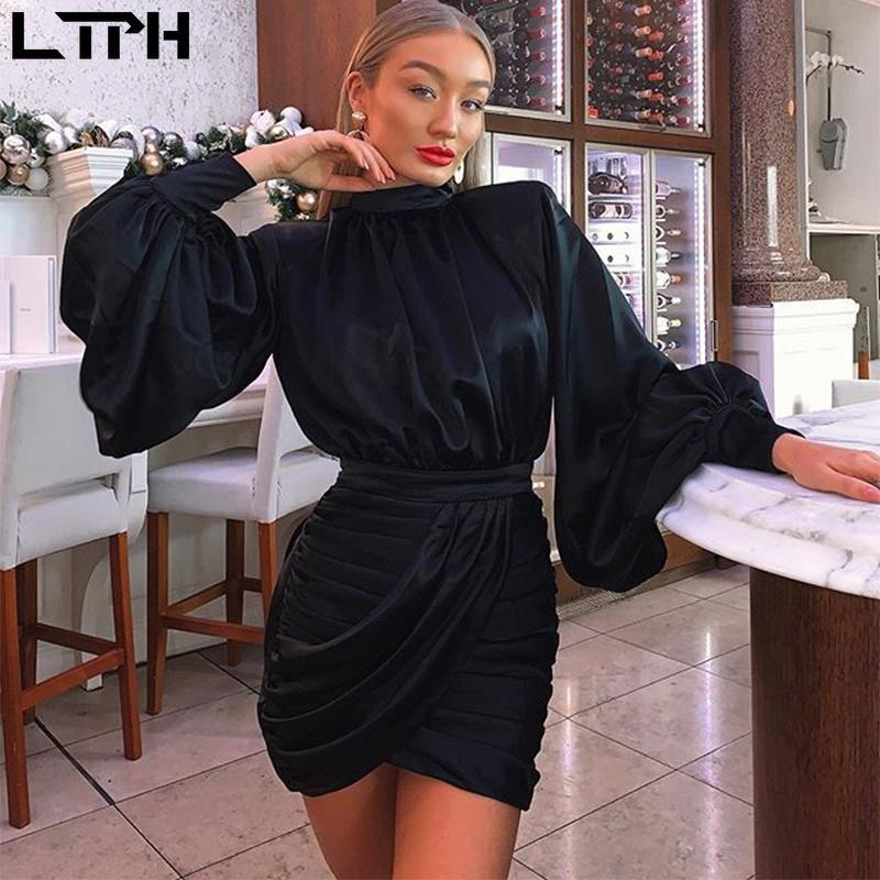 Venta caliente2020 Otoño Nuevas mujeres vestido de la linterna sólida Mangas altas Cuello alto Bolso sexy Cintura Cintura plisada Slim Wild Straight Mini Vestidos J1215