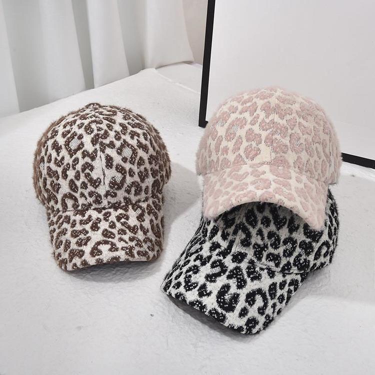 EE.UU. Stock Winter Leopard Woolen Béisbol Sombreros de béisbol Fashion Warm Leopard Outdoor Sports Caps para niñas Mujeres Damas Fiesta Sombreros Supplies