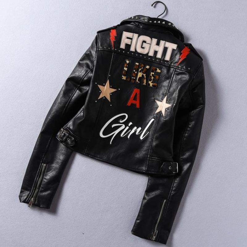 Женская кожаная искусственная весна 2021 авторская напечатанная буквы PU куртка женщин заклепки бисером локомотив короткая базовая уличная одежда