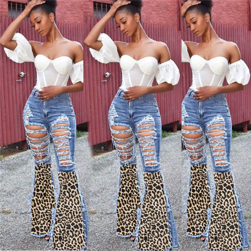 3XL Donne retrò jeans flare jeans vita alta Plus Size Pantaloni Moda Leopard Denim Pantaloni strappati Scava fuori pantaloni Sexy Ladies Hole Jeans 4344