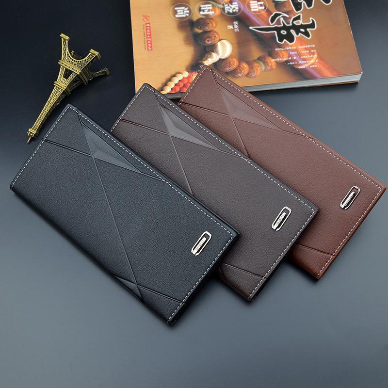 New Soft 3 Fold Multi-карточный слот большой емкости тиснение моды кошелек мужской длинный тонкий раздел молодежь людей PU