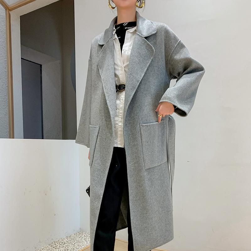 여성용 양모 블렌드 2021 패션 더블 폐쇄 여성 허리 긴 코트 누구의 천을