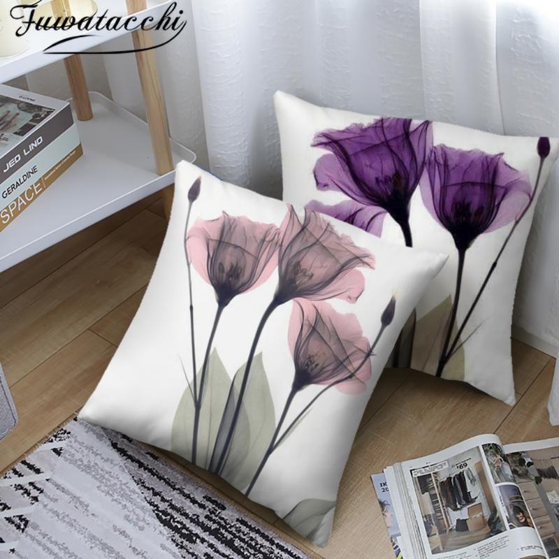 Fuwatacchi Bloom Blume Muster Kissenbezüge Bunte Blumen Foto Kissenbezug für Home Sofa Auto Dekoration Wurfkissenbezüge