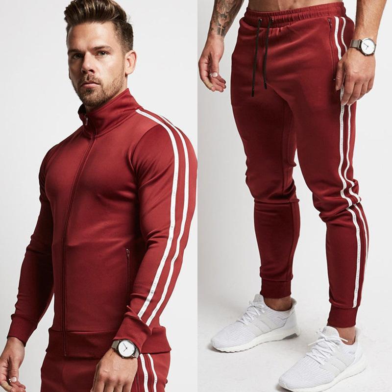 망 운동복 운동복 / 스웨트 팬츠 바지 체육관 피트니스 훈련 재킷 바지 2pcs / 세트 남성 조깅 스포츠 의류