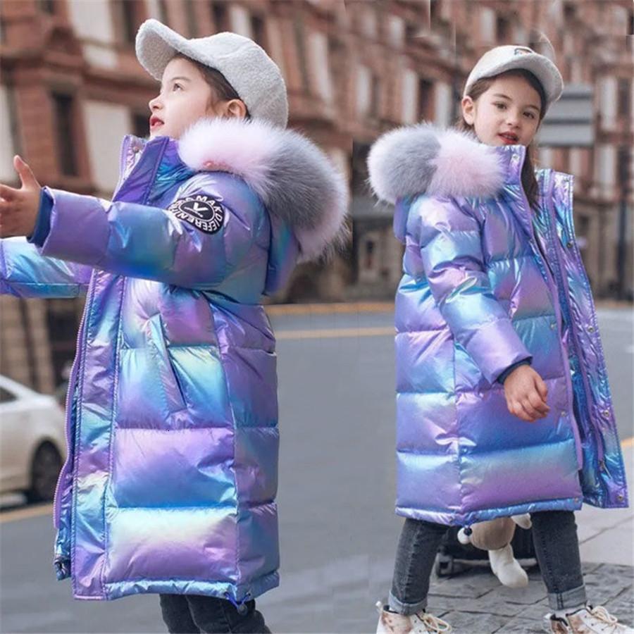 2020 Glänzende Jacke für mit Kapuze Warme Kinder Mädchen Wintermantel 5-14 Jahre Kinder Teenage Baumwolle Parkas Oberbekleidung