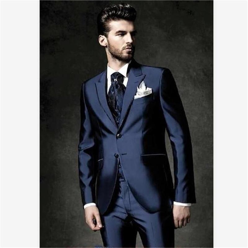 Yeni Erkek Takım Smolking Noivo Terno Slim Fit Easculino Akşam Takım Elbise Erkekler Için Bir Düğme Damat Smokin Takım Elbise (Ceket + Pantolon) 201106