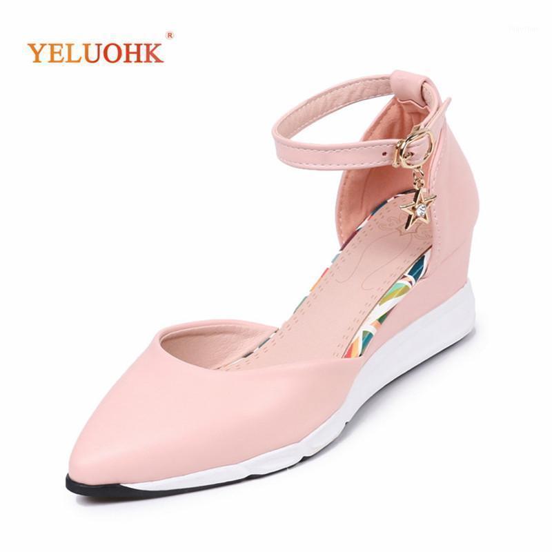 Sapatos de vestido Mulheres de couro cunhas primavera Bombas de outono 2021 festa cinta de tornozelo 33-40 plus size roxo rosa1