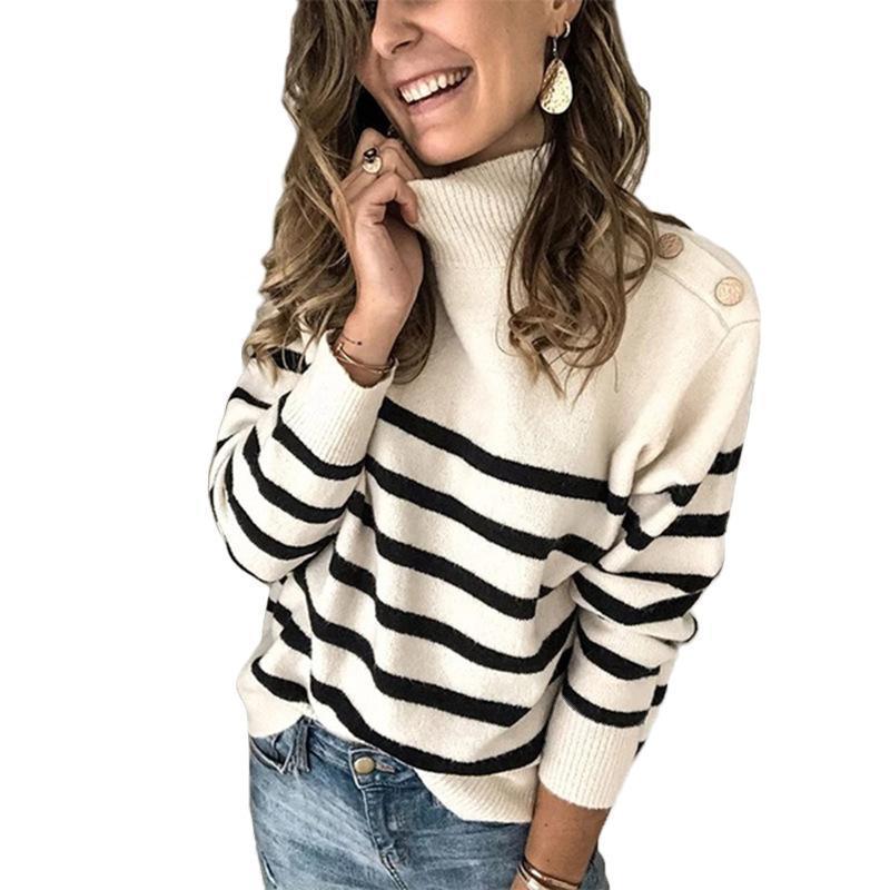 Camisolas femininas de malha camisola alto pescoço pulôver Botão de cinto de ombro para mulheres