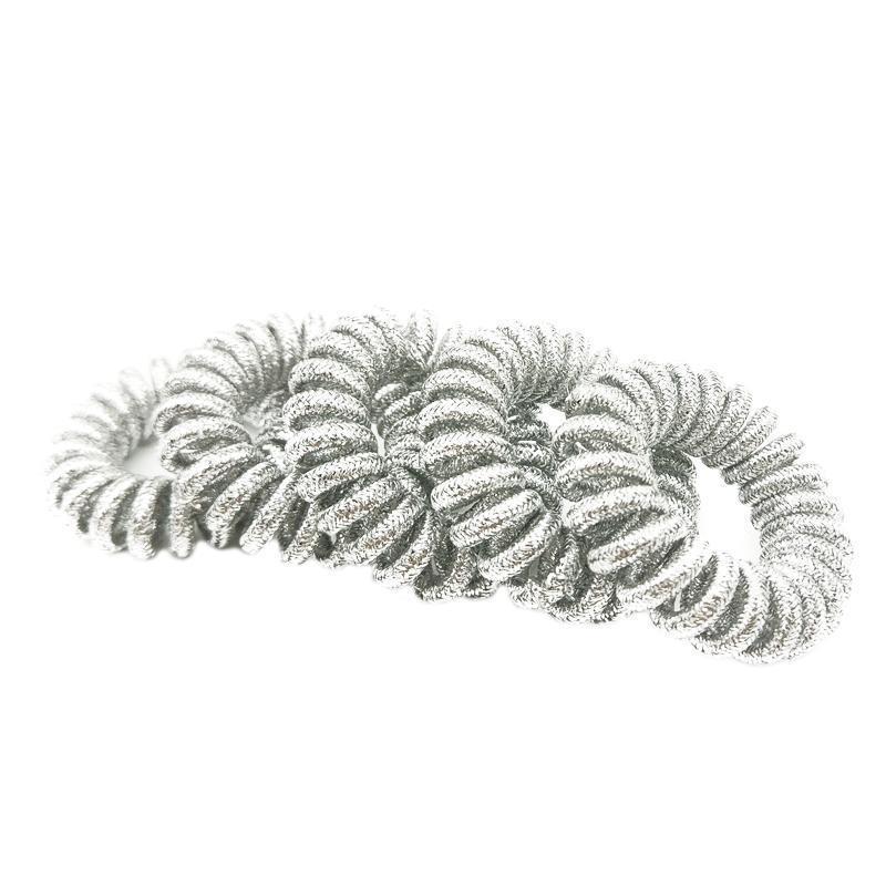 Telefondraht-Linienkabel nachsichtig Silber Wrap-Tuch-Ringgummi-Gummiband-Gummiband-Girl-Haar-Haar-skirschige Größe 3.5cm q Qylrf