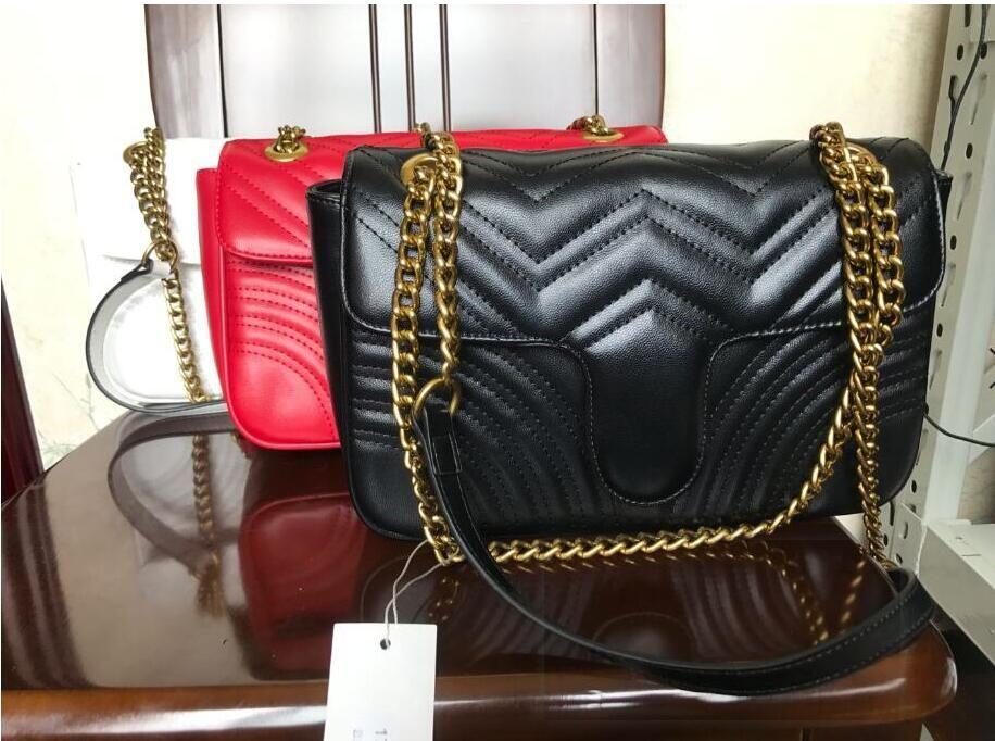 أعلى جودة الجلود الكلاسيكية حقيبة crossbody الذهب الفضة سلسلة حار بيع جديد حقائب النساء حقائب الكتف حقائب حمل حقائب رسول eee340