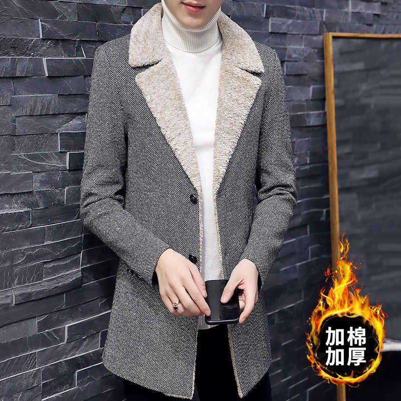 Мужская середина длинной осенью и зимней одежды утолщенные шерстяные пальто ягненка кашемировой корейский мода красивая ветровка мужчина