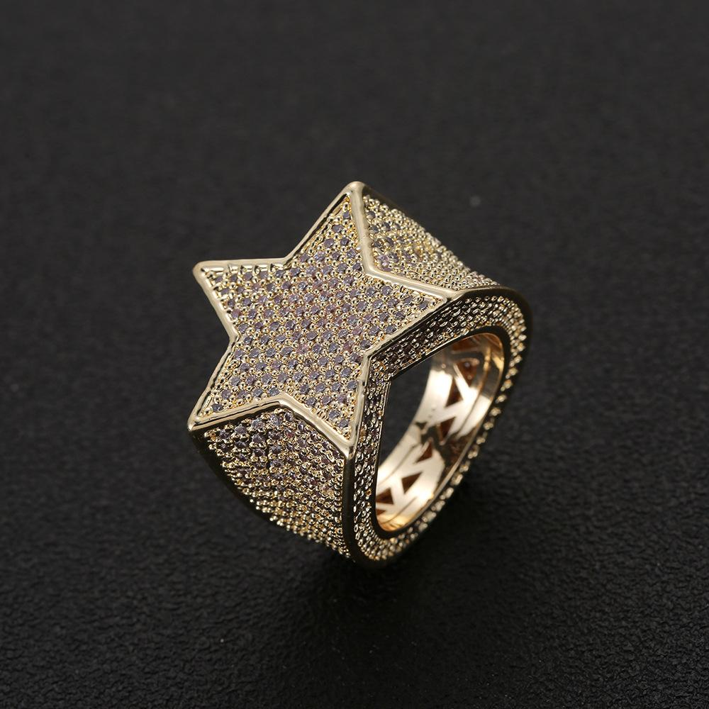 Men Fashion Copper Gold Silver Iced Out Star Ring High Quality Cz Stone Star Shape Ring Jewelry
