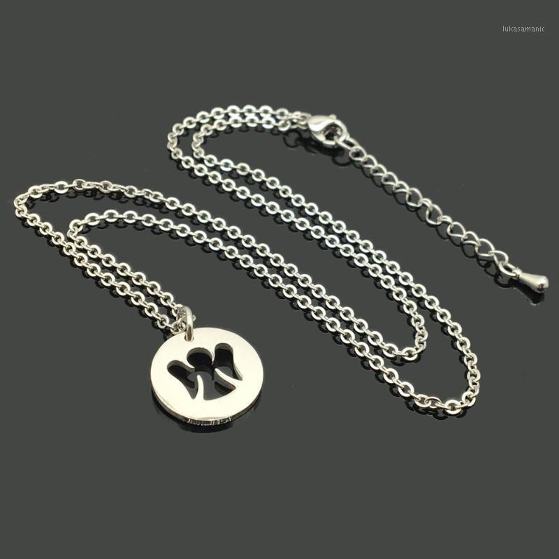 Ожерелья кулон из нержавеющей стали Любовь ожерелье ангела круглая гравированная религиозная христианская звена цепочка для женщин MEN1