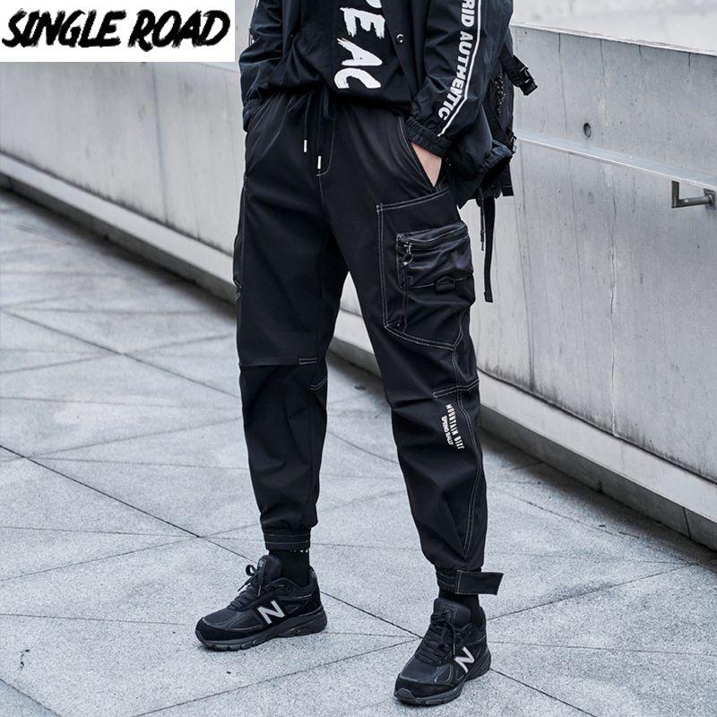 Singleroad Mens de chargement Mens Hommes Mode 2020 Black Baggy Joggers Hip Hop Hook Hook Harajuku Japonais Streetwear Pantalons coréens Pantalons hommes F1225