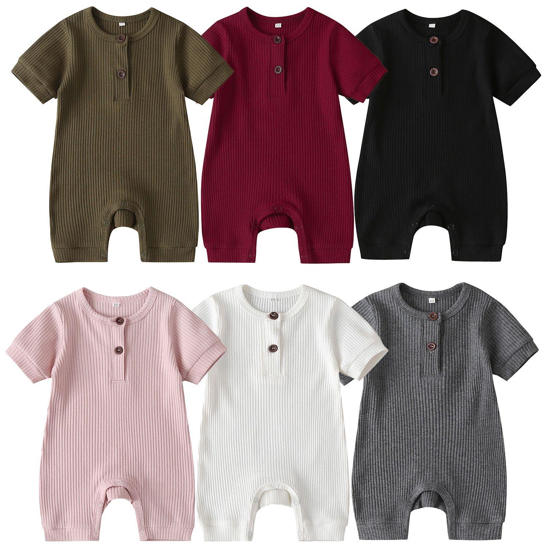 Bebê Romper Meninos Meninas Nascidos Jumpsuits com botão roupas de manga curta roupas de verão 11 cores