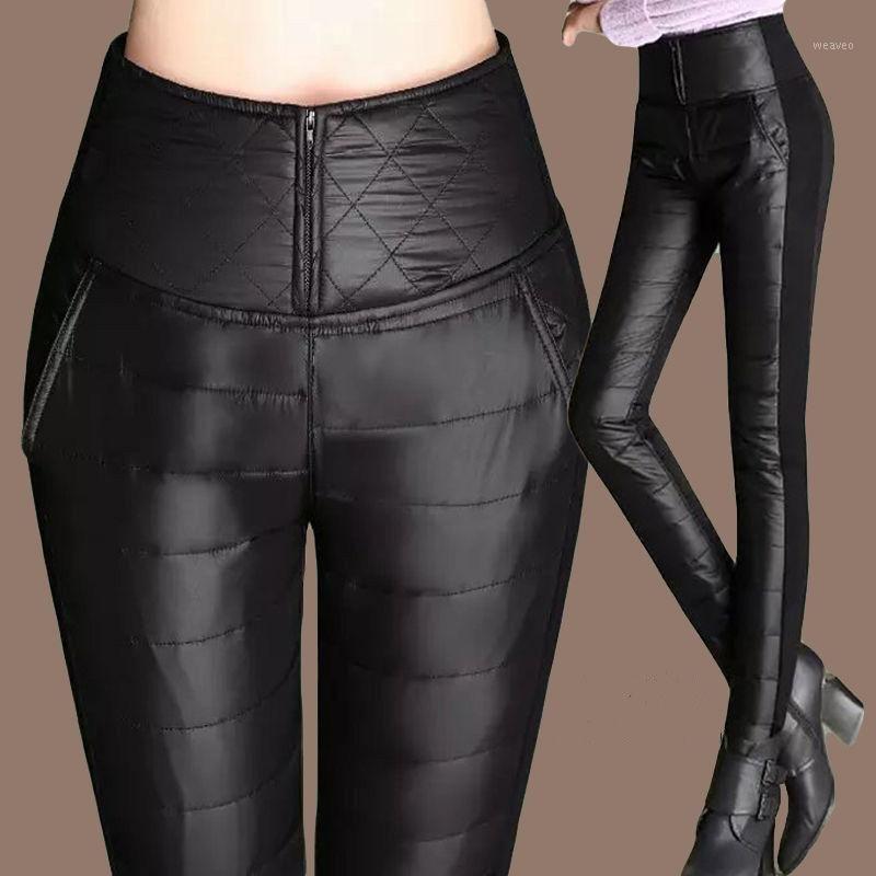 Thicken down Cotton Winter Warm Pants Women Elastic Waist Ladies Skinny Trousers Women's Casual Leggings Outwear Female Pants1