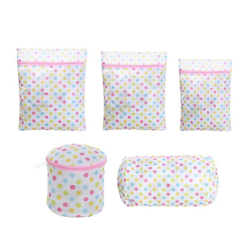 5PCS Zipper Laundry Bag Underwear Clothes Washing Machine Protective Net Mesh Bag Dot With Zipper