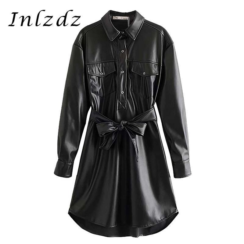 Женская мода черная искусственная кожа высокая талия рубашка платье с поясом дамы поворотные воротничка с длинным рукавом карманы блузка вестидос