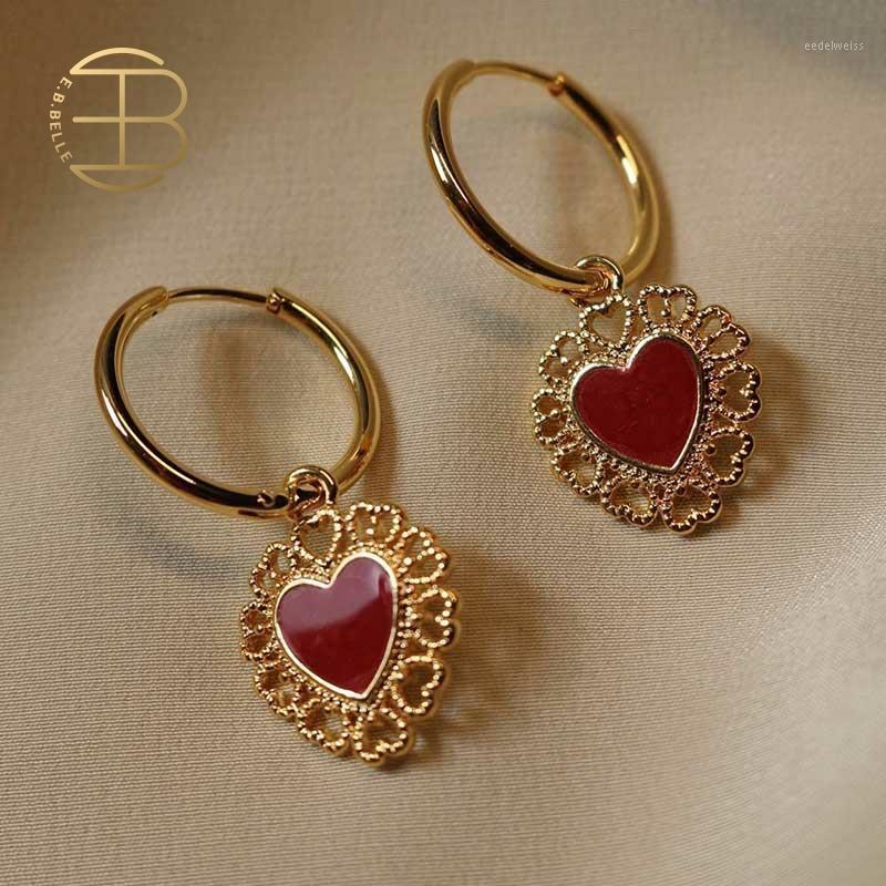 2020 New Fashion Rosso smalto cuore Cham Cham clip su orecchini a farfalla orecchini orecchini cerchi per le donne1